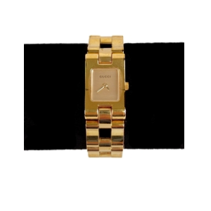 Gucci Stainless Steel Gold Plated Mod 2305L Wrist Watch White Dial