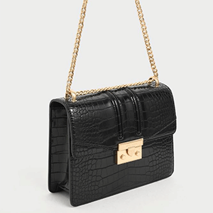 Croc-Effect Chain Strap Shoulder Bag