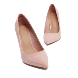 ASOS DESIGN Wide Fit Porto pointed high heeled court shoes in beige patent