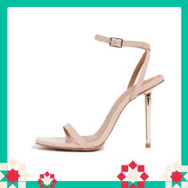 ASOS DESIGN Nation metal heel barely there heeled sandals in beige