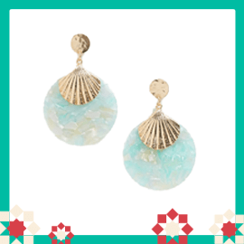 Pieces shell statement drop earrings