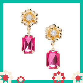 ASOS DESIGN earrings with floral stud and jewel drop in gold tone