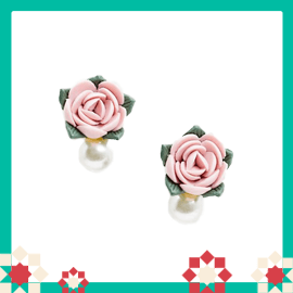 French Fashion House Bloom earrings in pastel floral with pearl detail