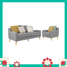 Evan 3 Seater Sofa with Evan Armchair - Slate