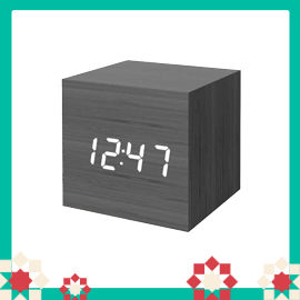 Digital Alarm Clock, Wood LED Light Mini Modern Cube Desk Alarm Clock Displays Time Date Temperature Kids, Bedroom, Home, Dormitory, Travel (Black)