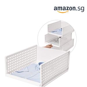 Wardrobe Storage Organiser Box[1 Tire], Plastic Stackable Detachable Storage Box Shelves Closet Organiser for Wardrobe, Bedroom, Kitchen & Bathroom (White, Small) by Zoomalee