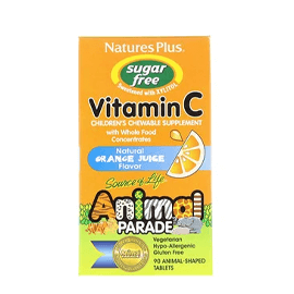 Nature's Plus, Source of Life, Animal Parade, Vitamin C, Children's Chewable Supplement, Sugar Free, Natural Orange Juice Flavor, 90 Animal-Shaped Tablets