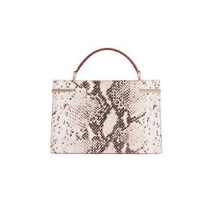 Snake-Effect Mini Top Handle Leather Bag
