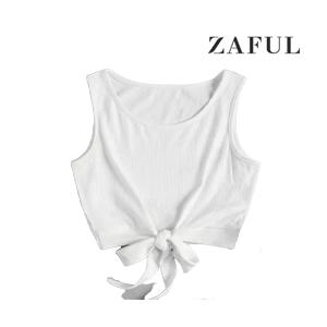 Self-tie Ribbed Crop Top (White)