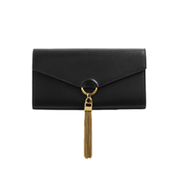 Metal Tassel Leather Wallet on Chain