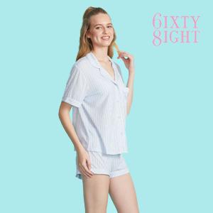 Candy Stripe Revere Collar Pyjama Shirt