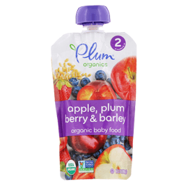 Plum Organics, Organic Baby Food, Stage 2, Apple, Plum Berry & Barley, 3.5 oz (99 g)