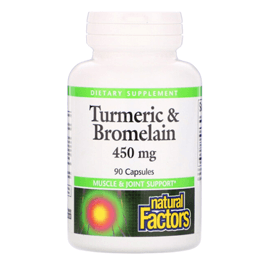 Natural Factors, Turmeric & Bromelain, 450 mg, 90 Capsules