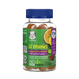 Gerber, Lil Brainies, Omega Tri-Blend & DHA, Kids Multivitamin, Ages 2+, 60 Gummies