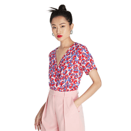 Bold Floral Surplice Bodysuit - Pink