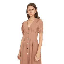 Puffed Sleeve V Neck Dress - Pink