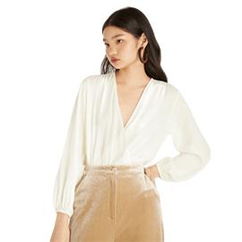 Surplice Full Sleeves Bodysuit - Off-White