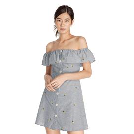 Ruffle Off Shoulder Mini Dress - Blue