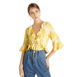 Flounce Sleeve Ruffled Bodysuit - Yellow
