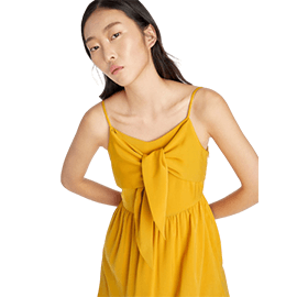 Tie Front Strappy Dress - Yellow