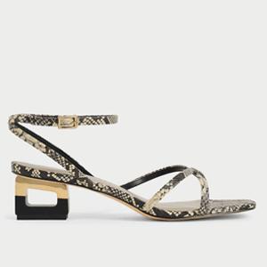 Sculptural Chrome Heel Sandals