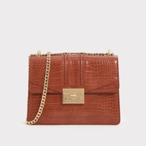 Croc-Effect Chain Strap Shoulder Bag