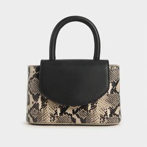 Snake Print Leather Cylinder Bag