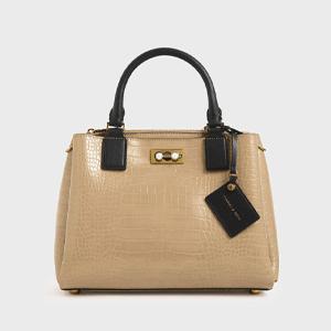 Croc-Effect Large Structured Bag