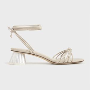 Geometric Heel Ankle Tie Sandals (Beige)