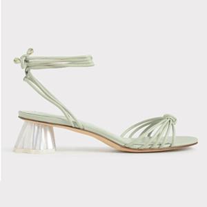 Geometric Heel Ankle Tie Sandals (Mint Green)